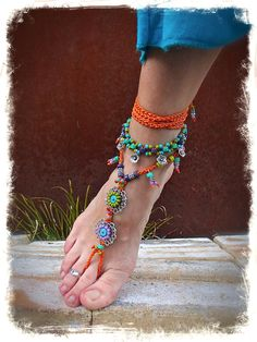 FLOWER ANKLE Bracelet beaded Anklet Tribal BOHO jewelry stackable anklet barefoot sandals foot jewelry Hippie Flowers