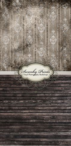 Black Grunge Damask & Black Stained Wood - Oz Backdrops and Props