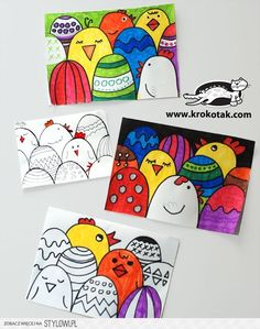 How to make an easy Easter postcard (krokotak) - Spring Art Projects, School Art Projects, Spring Crafts, Easter Activities, Art Activities, Arte Elemental, Classe D'art, Easter Drawings, Easter Arts And Crafts