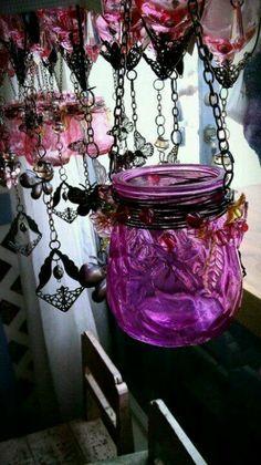 Hanging  Bohemian Beaded Colored Mason Jar Candle Holder  - tutorial  @ http://dishfunctionaldesigns.blogspot.com/2013/03/bohemian-beaded-colored-mason-jar.html