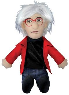 "Why settle for ""fifteen minutes of fame"" when you can have endless fun with your very own Andy Warhol Little Thinker doll? Warhol was as cool and hip as they co Dia Museum, Museum Shop, Andy Warhol, Monet, Picasso, Van Gogh, Dali, Warhol Paintings, Red Eyeglasses"