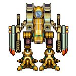 Some older mecha design for Antraxx. This gold mech has perfect rotation! pixel art for the win!  More at http://facebook.com/AntraxxGame