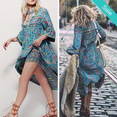Folk Town Boho Dress - Folk Town Boho DressSleeve Length: FullDresses Length: Mid-CalfSleeve Style: RegularWaistline: NaturalNeckline: V-Neck                          - On Sale for $56.00 (was $64.00)