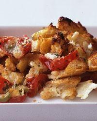 Pizza strata- This cheesy tomato-bread strata is a little like a pizza casserole.