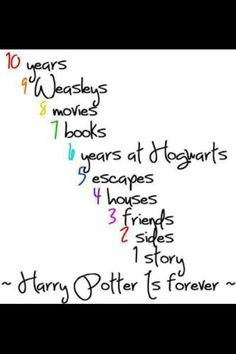 HP by numbers <3 Actually, it's 7 years at Hogwarts, but, if they mean the amount of years Harry went, it's 6.