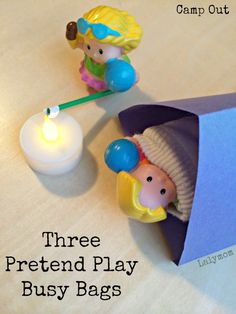 Three Pretend Play Busy Bag Ideas for Kids - Camp out busy bag on Lalymom.com- soo cute!