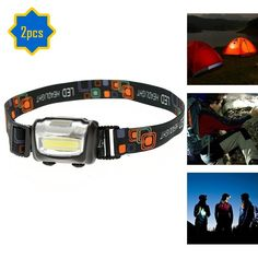 COB LED Headlamp, Jewelvwatchro Super Bright Headlight, with Adjustable Strap- Perfect For Running, Hiking, Cycling, Hunting, Backpacking, Reading (Black 2pc) >>> This is an Amazon Affiliate link. You can find more details by visiting the image link.