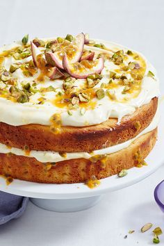 Bring out this beautiful layer cake when you want to wow! With thick swirls of creamy yoghurt icing and a drizzle of tropical passionfruit pulp, it's sure to be a crowd-pleaser! Just Desserts, Delicious Desserts, Yummy Food, Baking Recipes, Cake Recipes, Dessert Recipes, Cupcakes, Cupcake Cakes, Passion Fruit Cake
