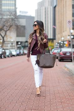 Burgundy Free People Lace Up Top // Black Swan Burgundy Jacket // Topshop White Jeans // Christian Louboutin So Kate Pumps // Louis Vuitton Neverfull MM Bag http://FashionCognoscente.blogspot.com