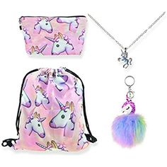 DRESHOW 5 Pack Cute Unicorn Drawstring Backpack//Make Up Bag//PU Coin Purse Clutch Bags//Alloy Chain Necklace//Unicorn Hair Ties