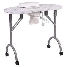Giantex Folding Portable Vented Manicure Table Nail Desk Salon Spa With Fan &Bag (Silver Flowers) Review