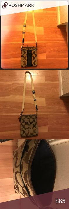 Authentic Coach Crossover bag Brown lettering , navy blue middle . Only used two times . Coach Bags Crossbody Bags