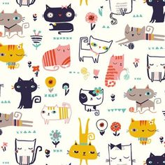 Dashwood Studio Cool for Cats - Cool Cats on White - Cotton - Wide We absolutely love Dashwood Studio fabrics here at Prints to Polka Dots - pop over today and see our range of individual prints and pre-cut fabric bu Fabric Patterns, Print Patterns, Pattern Art, Cat Fabric, Here Kitty Kitty, Surface Pattern Design, Pattern Wallpaper, Cool Cats, Cute Wallpapers