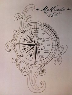 Tattoo idea Greek numbers Clock Compass