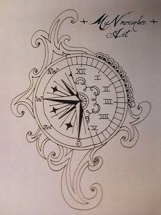 Tattoo idea Greek numbers Clock Compass