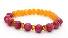 Beautiful Faceted Butterscotch Jade, Pink Agates and Amber Colored Crystals Stretch Bangle Bracelet | AyaDesigns - Jewelry on ArtFire