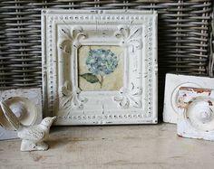 Chippy White Ceiling Tin framed Hydrangea by TheFarmhousePorch,