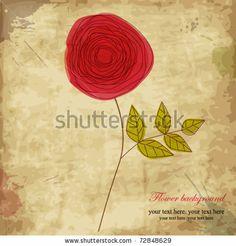 stock vector : Vintage rose, doodle flower