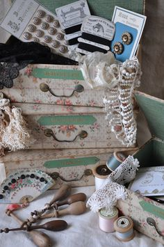 French fabric covered boxes,buttons and antique lace from Lily Pond Geelong