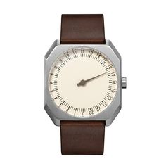 slow Jo 17 - Dark Brown Vintage Leather, Silver Case, Cream Dial
