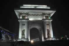 Arch of Triumph in Pyongyang North Korea at night
