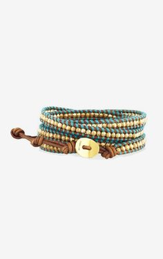 Gold-plated and leather five wrap bracelet