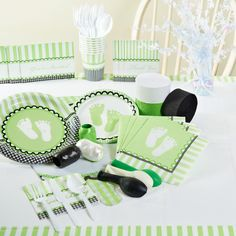 Sweet Baby Feet Green Baby Shower Party Supplies, 95791