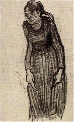 Vincent van Gogh Drawing, Pencil Auvers-sur-Oise: 1890 Van Gogh Museum Amsterdam, The Netherlands, Europe F: None, JH: Add. 16 Image Only - Van Gogh: Woman Standing