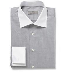 Canali Grey Contrast-Collar Cotton Shirt | MR PORTER