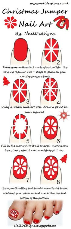 So love this Easy Christmas Nail Art Tutorials (simply change color and make in to a flower for summer)