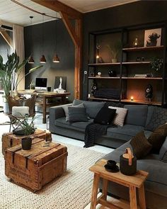 A Industrial Living Room With A Wall-Mounted Shelving Unit Grey ! ein industrielles wohnzimmer mit wandregal grau A Industrial Living Room With A Wall-Mounted Shelving Unit Grey ! Cozy Living Rooms, Home Living Room, Interior Design Living Room, Living Room Designs, Living Room Decor, Modern Interior, Apartment Living, Cosy Apartment, Brown Interior