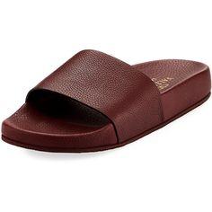 Valentino Men's Leather Slide Sandal ($402) ❤ liked on Polyvore featuring men's fashion, men's shoes, men's sandals, purple, mens leather shoes, mens sandals, mens shoes, mens leather sandals and valentino mens shoes