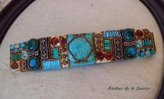 My new and colorful bead embroidery bracelet with turquoise, chrysocola, agate, amber and seed beads.