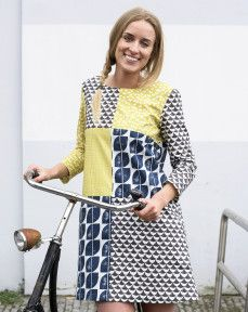 The Esme Tunic by Lotta Jansdotter, made up of a patchwork of fabric from her own fabric line. #tunic #dress #Sew #SewforMe