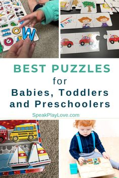 Recommendations for the best puzzles for toddlers or the best puzzles for preschool to promote early learning. Plus tons of puzzle activities for each age! #puzzles #toddleractivities #preschoolactivities #babyactivities #speechtherapy