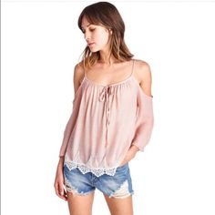 Host Pick 3/29Cold Shoulder Lace Detail Boho Top Beautiful pink color lightweight boho lace detail top.  Made in USA.  I have 2 small and 1 med available.  Please comment with your size and I will make you a listing.  Thanks :) April Spirit Tops