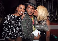Monica, Bruno Mars, and Keri Hilson attend the Bruno Mars And Smeezingtons Grammy celebration at Bardot on February 11, 2011 in Los Angeles, California.