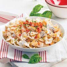 Farfalles au poulet sauce boscaiola - Recettes - Cuisine et nutrition - Pratico Pratique