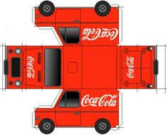 Coca-Cola Van Paper Model - by Papermau Paper Car, Paper Toys, Aluminum Can Crafts, Soda Can Crafts, Paper Houses, Printable Paper, Paper Cutting, Google Docs, Rag Dolls