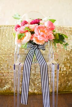 Amazing pink and coral bouquet via TheELD.com Orange And Pink Wedding, Striped Wedding, Pink And Gold, Wedding Bouquets, Wedding Flowers, Floral Wedding, Wedding Dresses, Black And White Ribbon, Wedding Planning Tips
