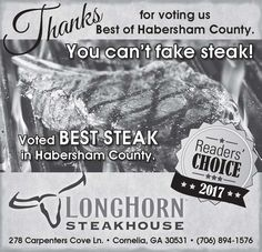 Thanks for voting us Best of Habersham County.    Voted BEST STEAK in Habersham County.   ... | LongHorn Steakhouse - Cornelia, GA #georgia #CorneliaGA #shoplocal #localGA