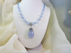 Blue Purple Chalcedony wire wrapped pendant wit Chalcedony and blue Jade beaded necklace by JeweledInstinct on Etsy