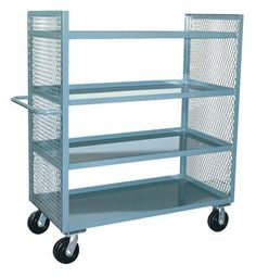 Jamco Products Inc 2 Sided Mesh Truck with 4 Shelves 30 x with 6 inch x 2 inch Phenolic Casters, Two Rigid, Two Swivel, Powder Coated Gray, Trucks Only, Mobile Storage, Cabinets For Sale, Storage Cart, Trucks For Sale, Shelves, Mesh, Laundry, Powder