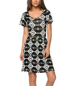 Look what I found on #zulily! Black & White Geometric Dress by Celeste #zulilyfinds
