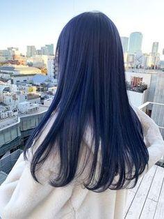 Dark Blue Hair, Blue Ombre Hair, Hair Color Blue, Blue Wig, Hair Color Streaks, Hair Dye Colors, Hair Inspo, Hair Inspiration, Korean Hair Color