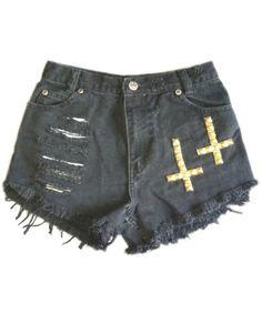 Vintage, cut off,  jeans,  shredded,  damaged,  fray,  grunge, omen eye, short, shorts, gold, crosses $42.99