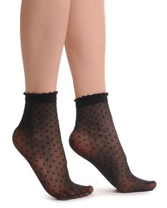 LissKiss Small Polka Dots And Rounded Trim Top Socks Ankle High 15 Den - Noir Chaussettes habillées Taille Unique Sexy Socks, High Knees, Ankle Highs, Fashion Socks, Women's Socks & Hosiery, Ankle Socks, Playing Dress Up, Rubber Rain Boots, Polka Dots