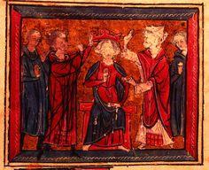 """Le Couronnement de Louis le Pieux, titre d'une chanson de gestes de Guillaume d'Orange - LOUIS 1°, 3) ROI D'AQUITAINE, 3.2 FIN DU REGNE DE CHARLEMAGNE, 3: """"..Ensuite se tint une assemblée avec les dits évêques, abbés, comtes et nobles du royaume Franc et ils firent de son fils LOUIS un roi de L'Empire. Ce à quoi tous consentirent pareillement, déclarant que cela était justifié; et cela plut au peuple, et avec le consentement de l'acclamation de tout le peuple..."""""""