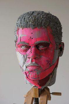cardboard sculpture woman | Bruce Lee 26 x 12 x 16 inches, archival cardboard, glue, screws, 2007