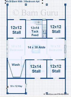 Barn Plans With Living Quarters -4-5 Stalls - 3 Bedrooms Design FP